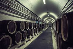 Cave avec des rangées des barils en bois dans le couloir souterrain, cru modifié la tonalité photos stock