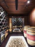 Cave avec la bouteille et les verres de vin image libre de droits