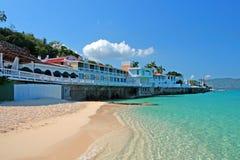 Cave Beach Club,蒙特哥贝,牙买加医生的储蓄图象 免版税库存照片