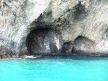 Cave and blue water. In Koktebel, Creamea, Black sea Stock Image