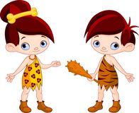 Cave boy and cave girl Stock Photo