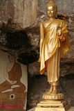 Cave buddha tiger temple krabi thailand. Golden statue of the buddha in tiger temple krabi thailand stock photo