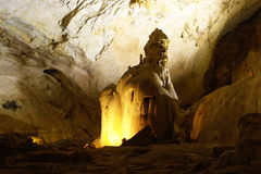 Inside cave. Calcite formation in the cave Royalty Free Stock Images