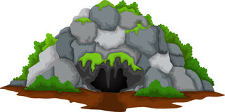 Cave cartoon with forest landscape background Royalty Free Stock Photos
