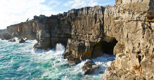 The jaws of the devil. This cave in cascais is called the jaws of the devil or the gates of hell, Portugal stock photo