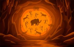 Cave with cave drawings. Cartoon mountain scene background Primitive cave paintings. ancient petroglyphs. Prehistoric Cave with cave drawings. Cartoon mountain vector illustration