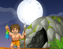 Cave and caveman. Illustration of a caveman and a cave Stock Photography