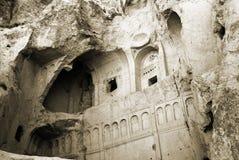 Cave church in Cappadocia. Near Goreme, Turkey. Monochrome sepia toned image stock image