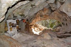 Cave church. The little cave church in Dispilio,Kastoria Greece stock images
