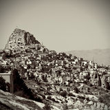 Cave city in Cappadocia, Turkey. Vintage retro style Royalty Free Stock Images