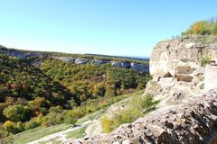 Cave city Chufut-Kale in the autumn stock photo