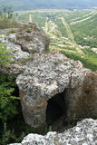 Cave City of Tepe Kermen. Tepe Kermen is a cave city from the 6th century located near Bakhchisarai - Crimea, Russia (formerly the territory of Ukraine royalty free stock photography
