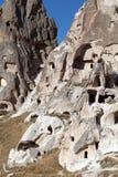 Cave city Uchisar in Cappadocia, Turkey stock photography