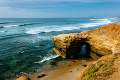 Cave and cliffs along the Pacific Ocean at Sunset Cliffs Natural. Park in Point Loma, California Stock Photos