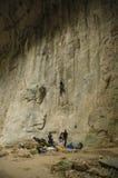 Cave climbing in Prohodna Cave, Bulgaria Stock Photo