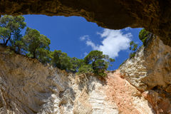 Cave on the coast of Gargano National park on Puglia Stock Photos