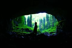 Cave Coiba Mare in Apuseni Mountains,Romania. Cave portal Coiba Mare, near Village Casa de Piatra ,whose size is 47 meters high and 74 meters breadth,in the Stock Photography
