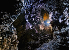 Cave with colorful light Royalty Free Stock Photo