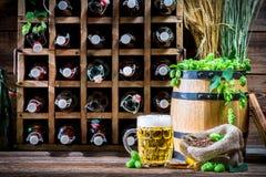 Cave complètement de bière faite maison image libre de droits