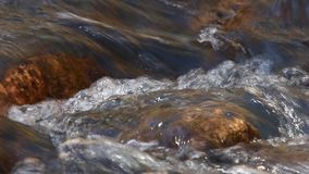 Creek flowing over submerged rocks stock video