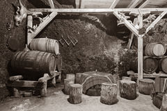 Cave d'établissement vinicole photographie stock libre de droits