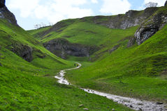 Cave Dale dry limestone hidden valley and stream, Peak District Stock Photography