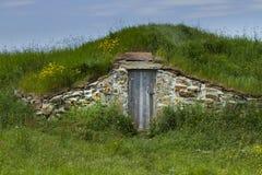 Cave de racine dans Elliston rural dans Terre-Neuve et Labrador images stock