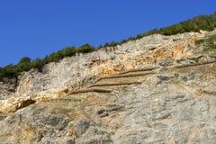 Cave del Predil - Friuli Italy. Lead and zinc mine, outdoor area with blue sky - Predil Mine in Friuli Italy Stock Photos