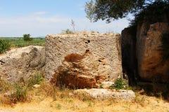 Cave di Cusa, abandoned column drum, detail Stock Photos