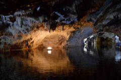Cave of Diros, Greece. Amazing cave of Diros, Peloponesse, Greece royalty free stock photo