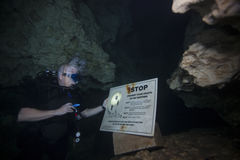 Cave Dive Warning - Devils Den Royalty Free Stock Image