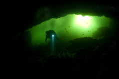 Cave Diver. A diver enters the Peacock Springs cave system from the murky basin royalty free stock photography