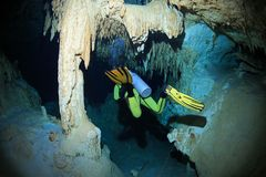 Cave diving in the cenote underwater cave Royalty Free Stock Photos