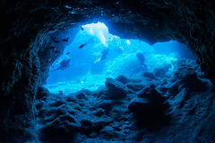 Cave diving. In Miyakojima-island Royalty Free Stock Photography