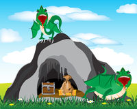 Cave and dragons. Cave in grief and dragons protecting bonanza stock illustration
