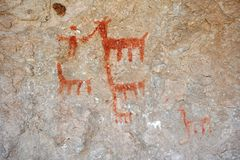 Cave drawing depicting Lama Stock Photography