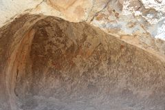 Cave drawing depicting llamas near the town of Oruro Stock Photo