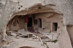 Cave dwelling in göreme, cappadocia, turkey stock photography