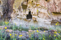 Cave Dwellings in Bandelier Stock Photo