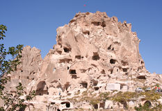 Cave Dwellings and Old Castle in Uchisar,Cappadocia Stock Photo