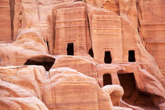 Cave dwellings, Petra. Cave dwellings in the Rose City of Petra, Jordan. The city of Petra was lost for over 1000 years but is now one of the new Seven Wonders Stock Photos