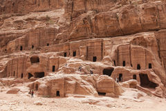 Cave dwellings in the Rose City of Petra Stock Images