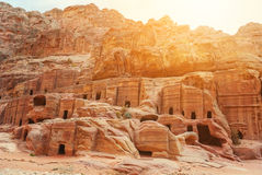Cave dwellings in the Rose City of Petra, Jordan Stock Photos