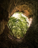 Cave entrance with man Royalty Free Stock Photo
