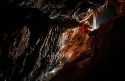 Cave explorer, speleologist exploring the underground Stock Photo