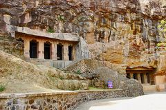 Cave 6 and 7, Fa�ade mid shot, Aurangabad Caves, Aurangabad, Maharashtra. Cave 6 and 7, Fa ade mid shot, Aurangabad Caves, Aurangabad, Maharashtra India stock photo