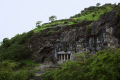 Cave 6 Facade and Cave 5 Brahmanical Cave to left, Aurangabad caves, Eastern Group, Aurangabad, Maharashtra, India stock images