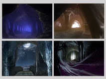 Cave fantasy_2. Set of four images rendered in a 3d Program Royalty Free Stock Photography