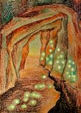 Cave with fireflies graphics crayon crayon pencil. Cave with the abyss and with fireflies graphics crayon crayon pencil Royalty Free Stock Images