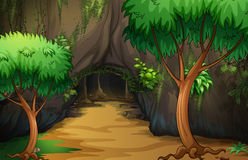 A cave at the forest. Illustration of a cave at the forest Royalty Free Stock Photography
